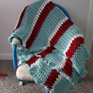 Vintage Crochet Afghan Throw Blanket Teal Maroon